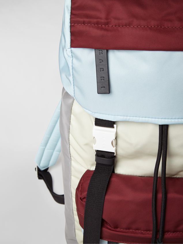 Marni Backpack in nylon burgundy yellow gray and pale blue Man - 5