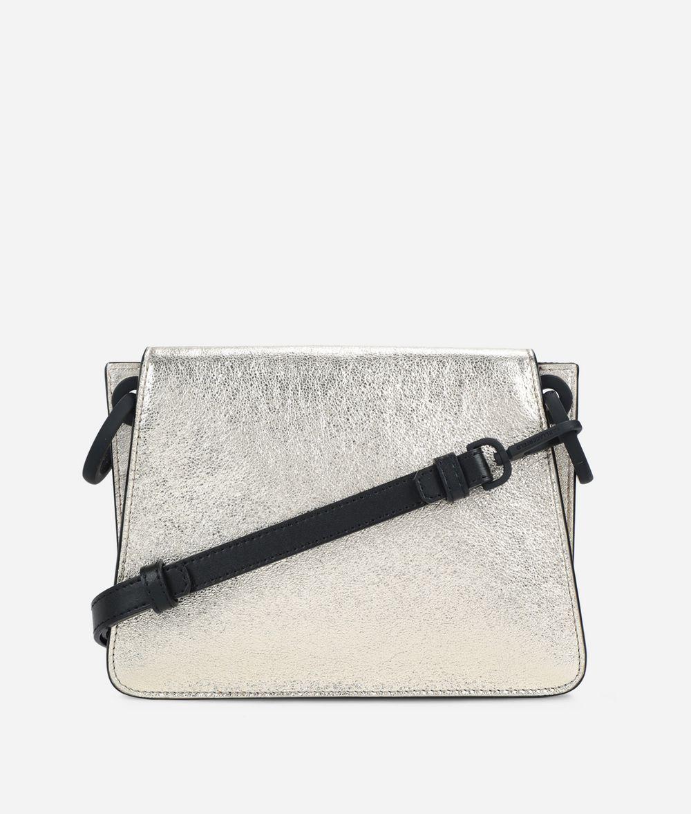 KARL LAGERFELD K/Kat Lock Umhängetasche aus Metallic Leder Crossbody Bag Damen d