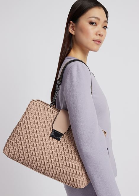 Tote bag in quilted faux nappa leather with teardrop motif