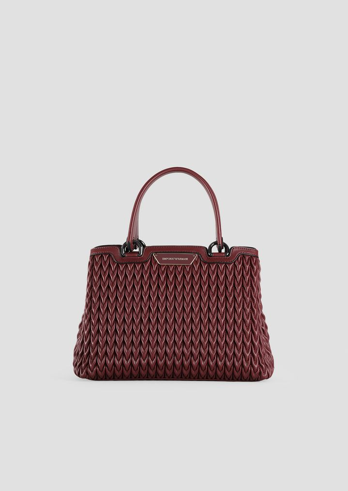 514a9e1c255 Shopping bag in quilted eco-nappa with drop pattern   Woman   Emporio Armani