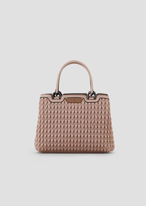 Shopping bag in quilted eco-nappa with drop motif