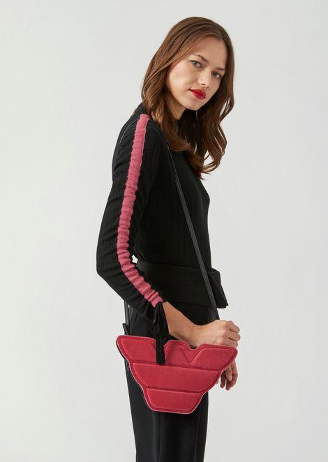 Eagle-shaped velvet and leather bag