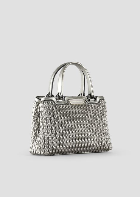Shopping bag in quilted eco-nappa with drop pattern
