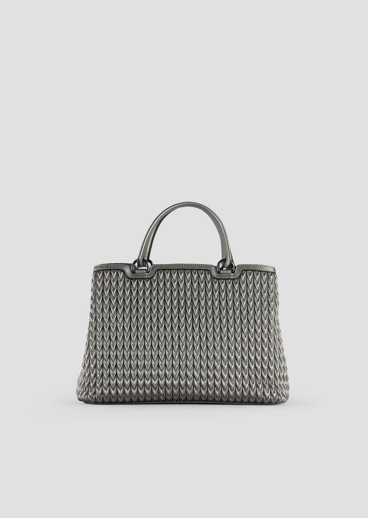 9326d7b6fab ... Woman · Top Handles  Shopping bag in quilted eco-nappa with drop pattern.  EMPORIO ARMANI