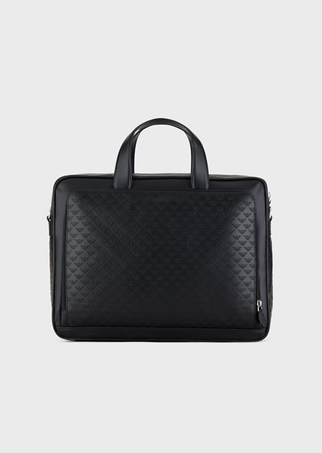 Leather briefcase with all-over eagle print