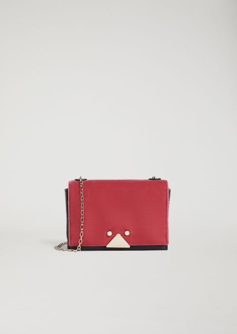 Velvet and leather mini-bag with triangular closure