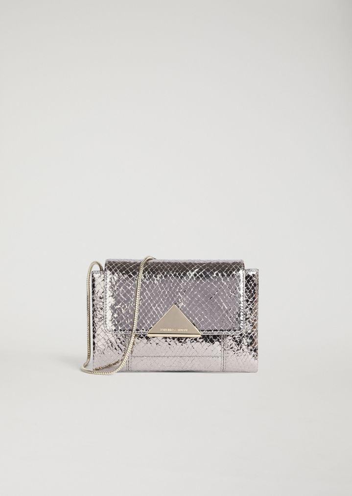 a5df7b321c Mini-bag in laminated leather with lizard print   Woman   Emporio Armani