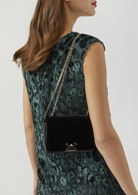 Velvet and leather mini-bag with triangular closure