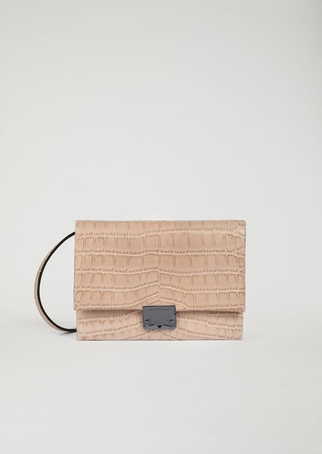 Croc print leather crossbody clutch bag with triangular fastening