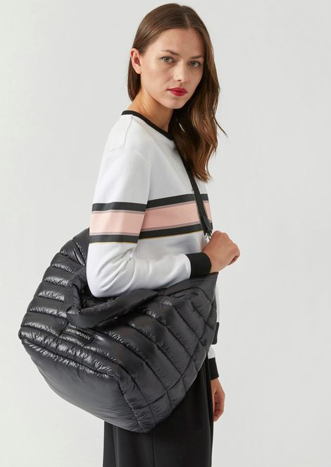 Quilted padded bag with shoulder strap and Emporio Armani logo