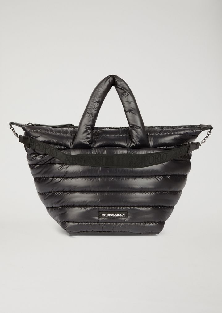 b70614b09836 Quilted padded bag with shoulder strap and Emporio Armani logo ...