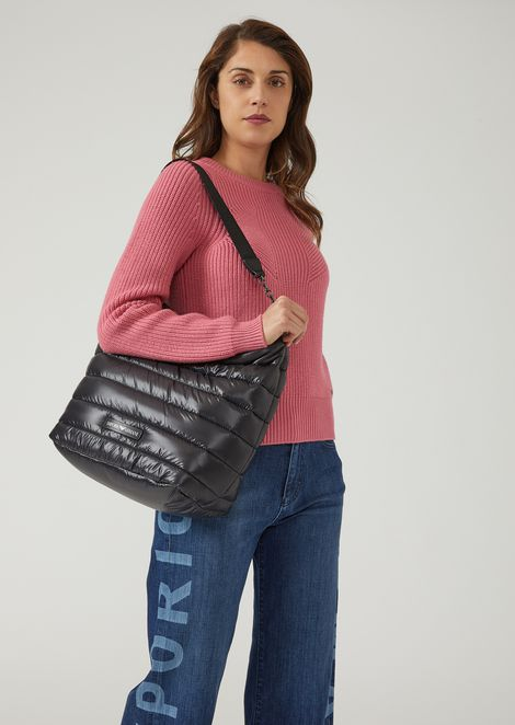 Quilted padded Hobo Bag with shoulder strap and Emporio Armani logo