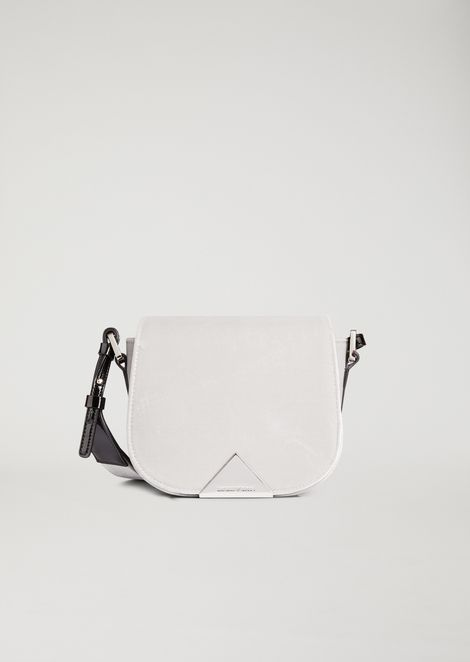 Velvet crossbody bag with metal triangular detail