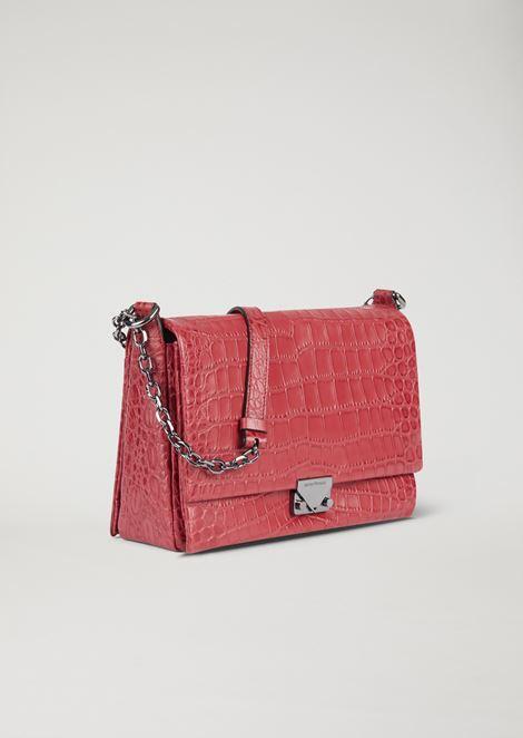 Croc print leather crossbody bag