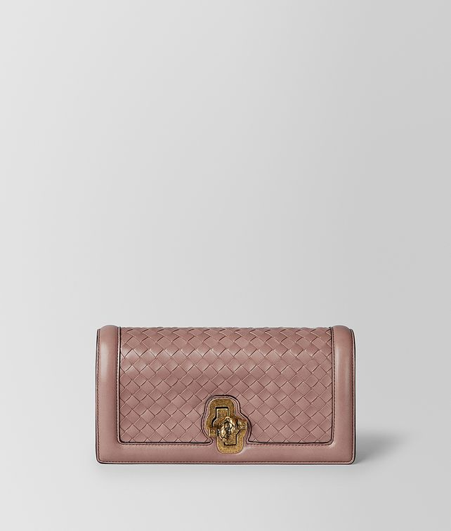 BOTTEGA VENETA DECO ROSE NERO INTRECCIATO NAPPA TOP KNOT CLUTCH Clutch [*** pickupInStoreShipping_info ***] fp