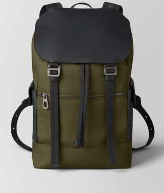 SASSOLUNGO BACKPACK IN HI-TECH CANVAS AND MATTE CALF LEATHER