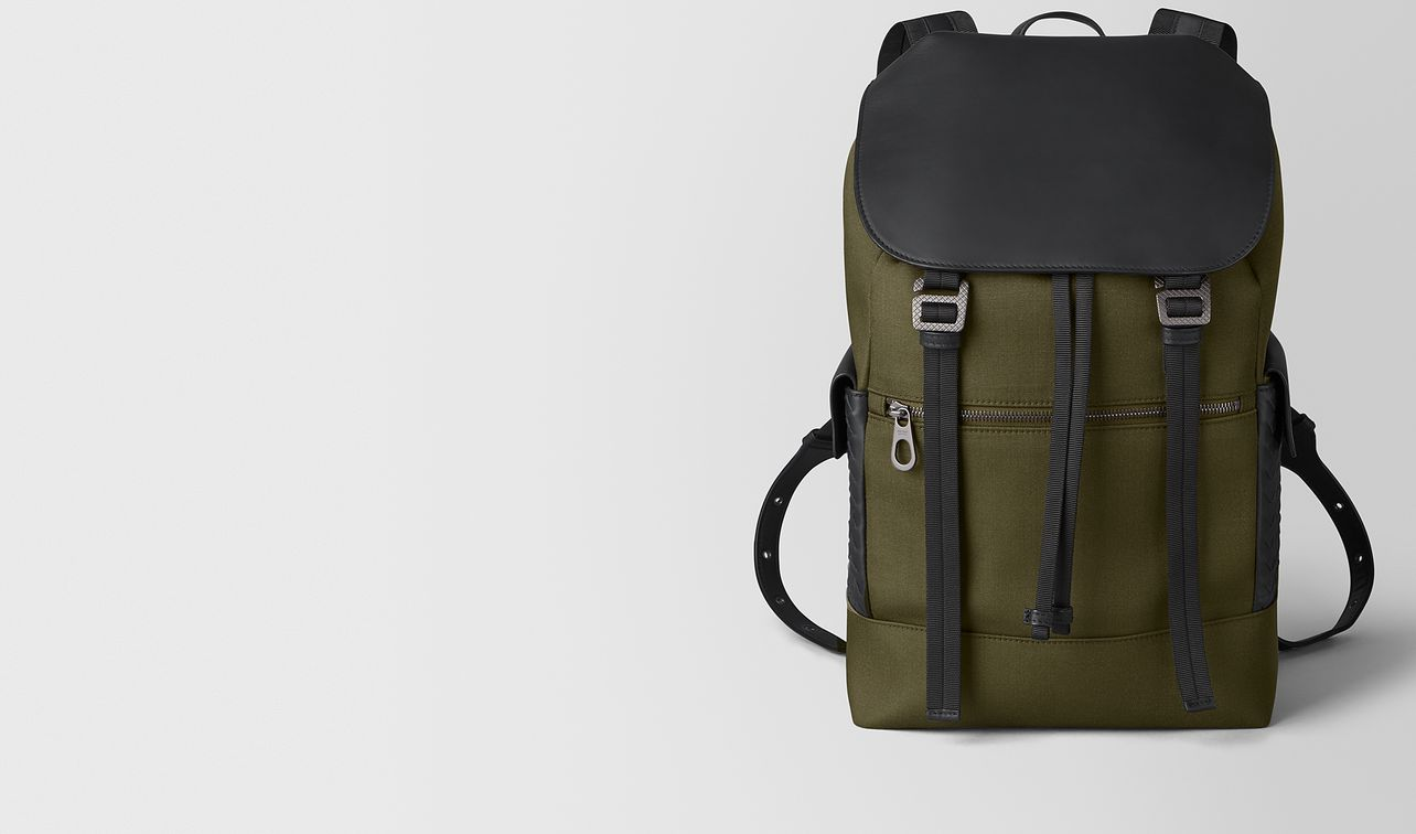 sassolungo backpack in hi-tech canvas and matte calf leather landing