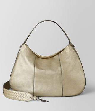 LARGE CITY VENETA IN METALLIC CALF LEATHER