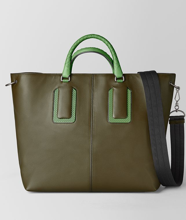 BOTTEGA VENETA 18 TOTE IN FRENCH CALF AND ENAMEL Tote Bag Man fp