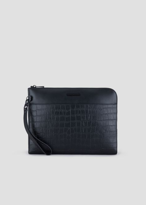 Smooth and croc print leather document briefcase