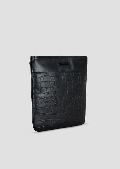 Smooth and croc print leather messenger bag