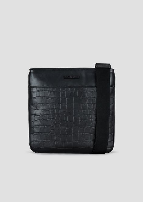 Smooth and croc print leather messenger bag