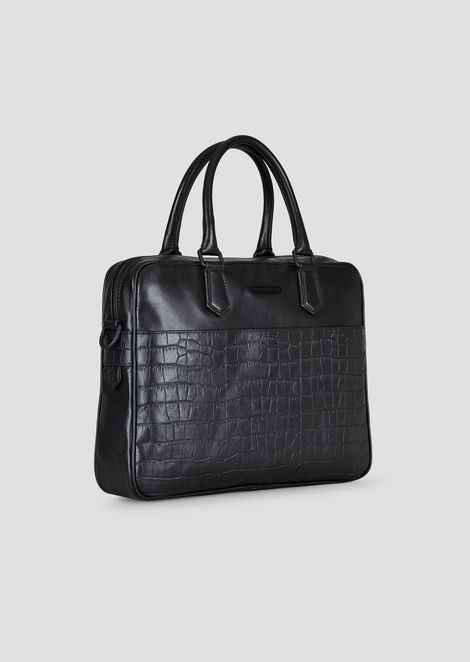 Smooth and croc print leather briefcase