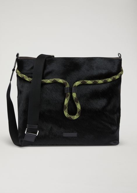 Calf hair and leather hobo bag with shoulder strap 0e0bf1d8f8ef