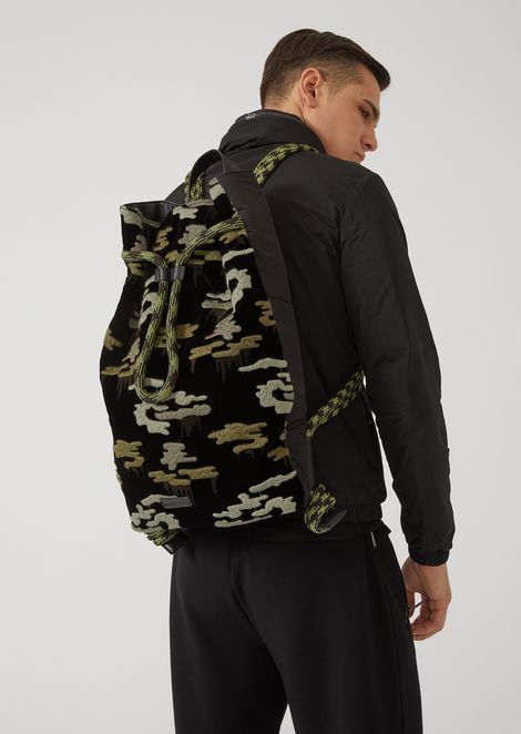 Velvet and grained leather backpack with embroidered camouflage pattern