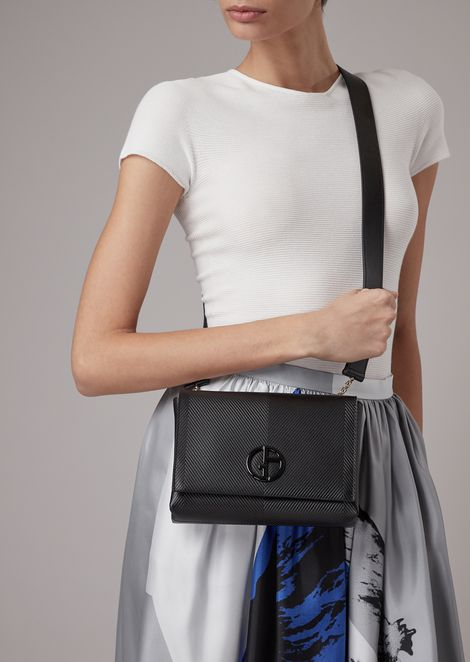 Chevron print leather shoulder bag with tone logo
