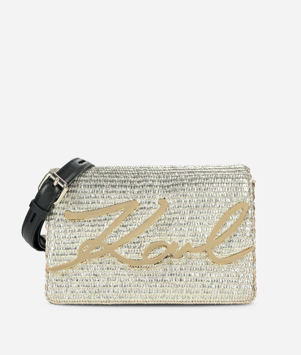 KARL LAGERFELD K/Signature Raffia Shoulder Bag Handbag Woman f