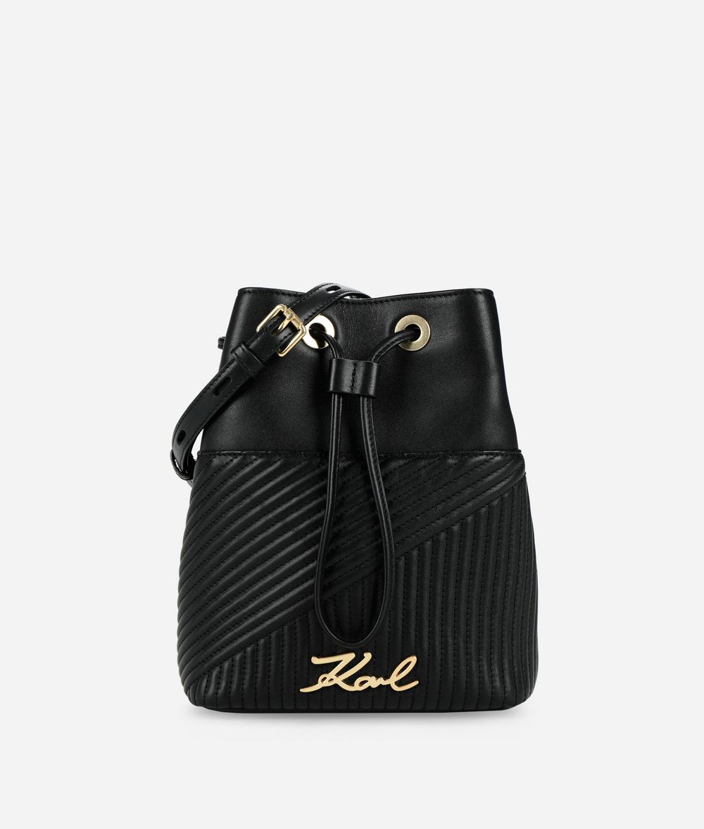 KARL LAGERFELD K/Signature Quilted Bucket Bag Drawstring bag Woman f