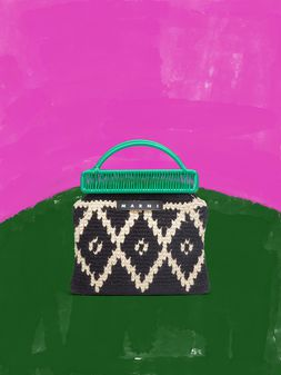Marni MARNI MARKET green frame bag in crochet wool with lozenge pattern Man