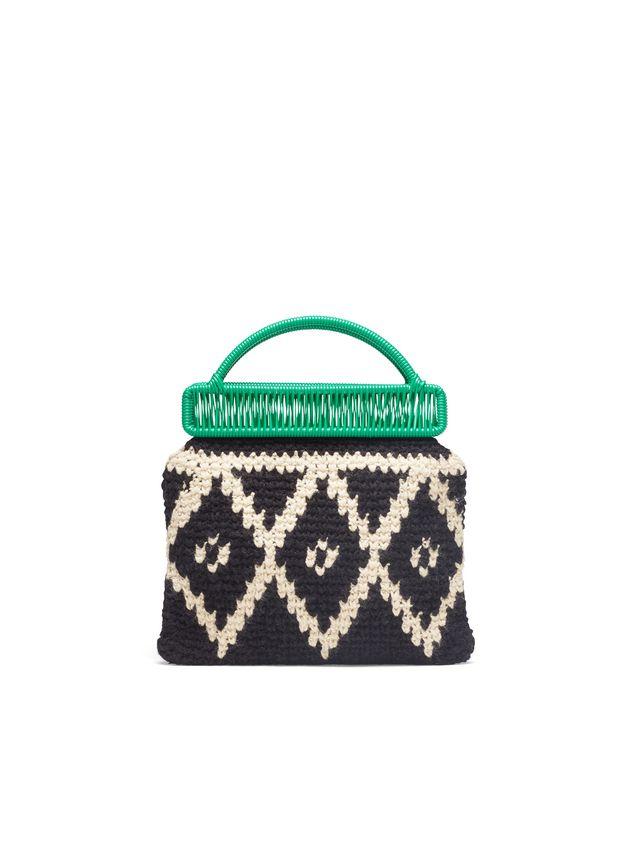 Marni MARNI MARKET green frame bag in crochet wool with lozenge pattern Man