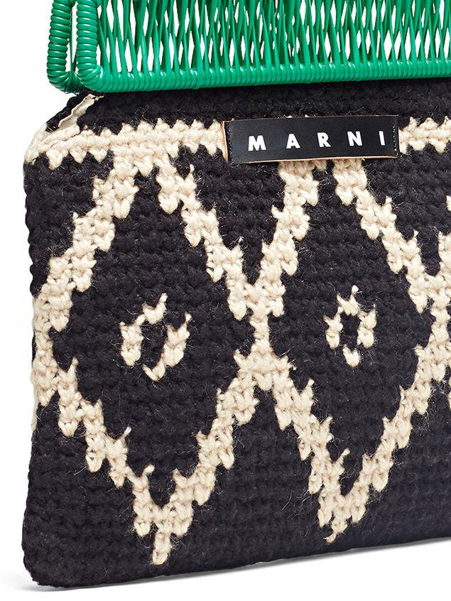 Marni MARNI MARKET green frame bag in crochet wool with lozenge pattern Man - 4