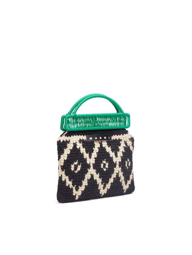 Marni MARNI MARKET green frame bag in crochet wool with lozenge pattern Man - 2