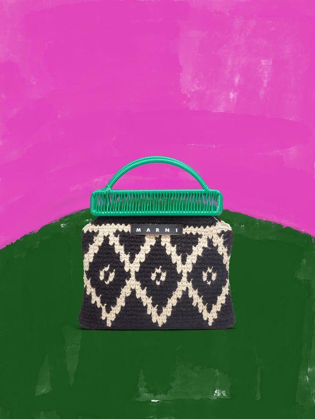 Marni MARNI MARKET green frame bag in crochet wool with lozenge pattern Man - 1