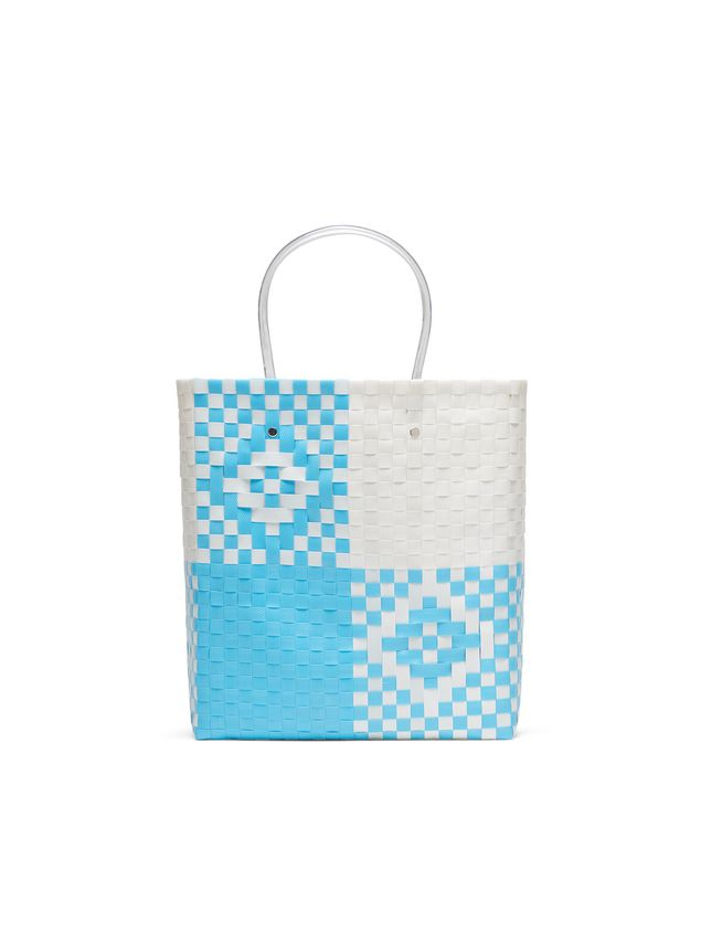Marni MARNI MARKET pale blue and white N-S shopping bag in polypropylene  Man