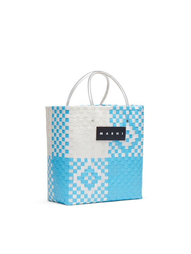 Marni MARNI MARKET pale blue and white N-S shopping bag in polypropylene  Man - 2