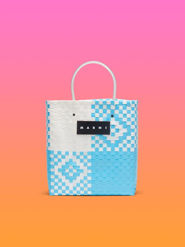 Marni MARNI MARKET pale blue and white N-S shopping bag in polypropylene  Man - 1