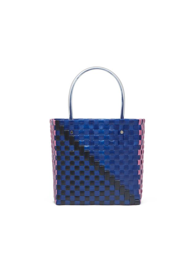 Marni MARNI MARKET squared shopping bag in woven polypropylene with transparent blue handles Man