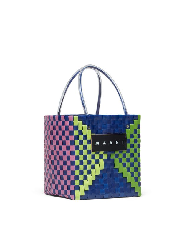 Marni MARNI MARKET squared shopping bag in woven polypropylene with transparent blue handles Man - 2