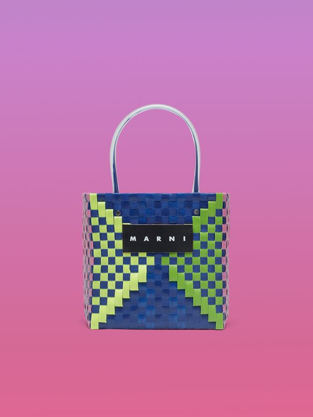 Marni MARNI MARKET squared shopping bag in woven polypropylene with transparent blue handles Man - 1