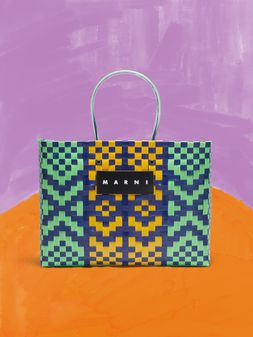 Marni MARNI MARKET E-W shopping bag in polypropylene with lozenge pattern Man