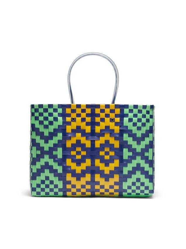 Marni MARNI MARKET E-W shopping bag in polypropylene with lozenge pattern Man