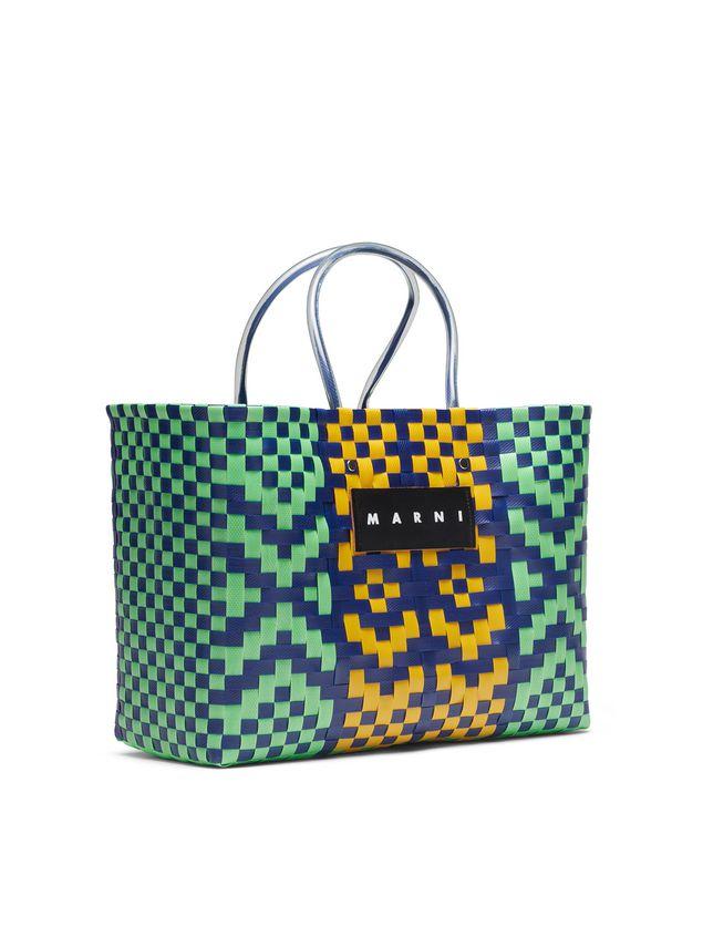 Marni MARNI MARKET E-W shopping bag in polypropylene with lozenge pattern Man - 2