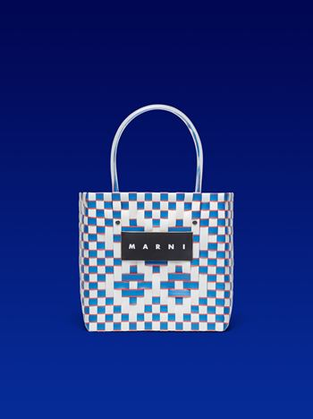 Marni MARNI MARKET squared shopping bag in woven polypropylene blue white with red piping Man f