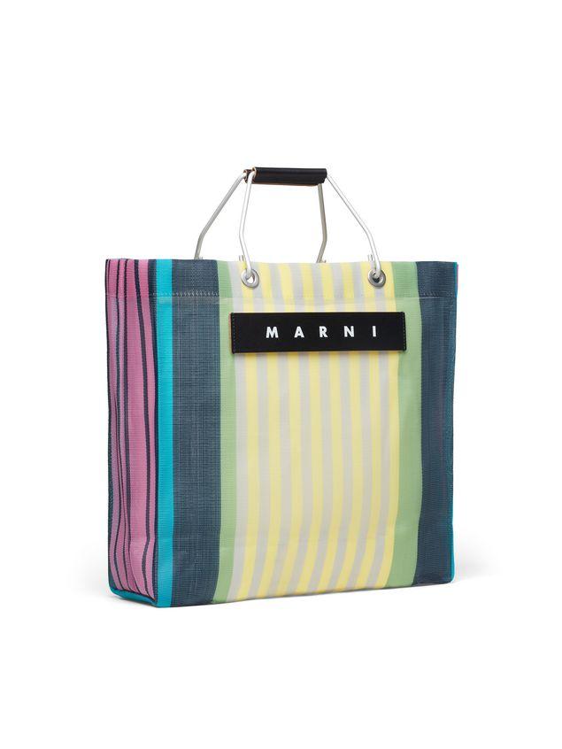 Marni MARNI MARKET yellow striped shopping bag in polyamide  Man - 2
