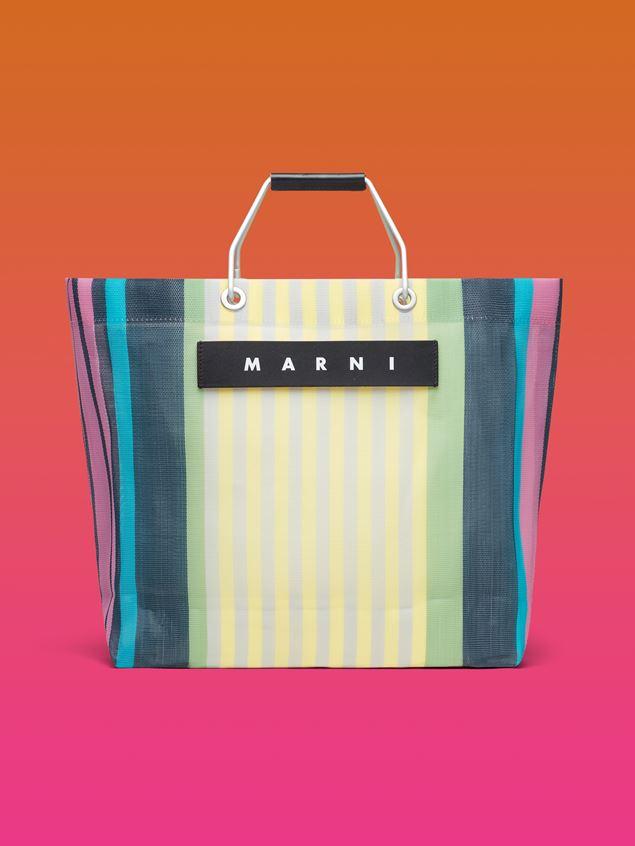 Marni MARNI MARKET yellow striped shopping bag in polyamide  Man - 1