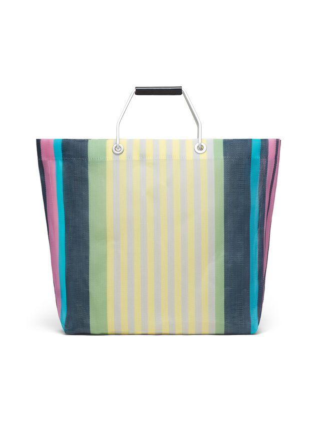 Marni MARNI MARKET yellow striped shopping bag in polyamide  Man - 3